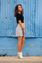 white checkered Missguided skirt - black black and white Missguided top