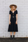 Navy-glassons-dress-black-hat-glassons-hat-black-silver-belt-belt