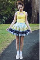 light yellow heart cutout Paper Hearts top - white printed Faith & Lola skirt
