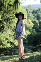 navy denim shorts Finders Keepers shorts - black scalloped asoscom hat