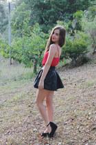 black faux leather Ustrendy skirt - black platforms Jo  Mercer shoes