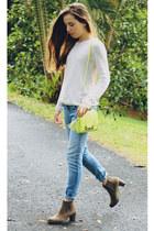 light brown Miss Shop boots - light blue denim faded indigo rein jeans