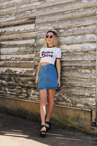 white clear asos sunglasses - blue denim asos skirt - white printed asos top