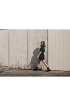 black striped Urban Outfitters top - navy black denim Topshop skirt