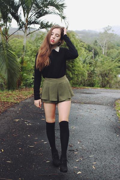 Black Geneva Sweaters, Olive Green High Waist Calico Shorts ...