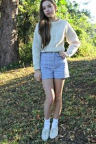 gingham thrifted shorts - brogues thrifted shoes - knit thrifted sweater