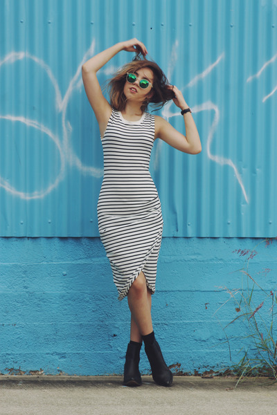 black Urban Outfitters boots - white Staple the Label dress