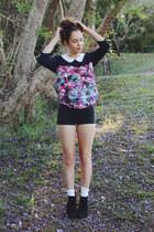 black Miss Shop boots - black high waisted sass & bide shorts