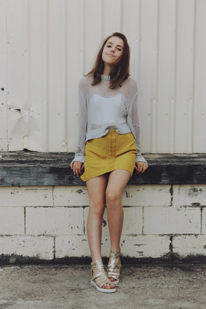 ivory knit sweater Cheap Monday sweater - mustard Three Of Something skirt