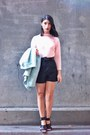 Light-blue-sammydress-coat-black-asos-shorts-light-pink-forever-21-top