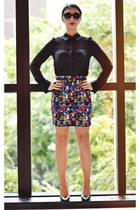Ena Pelly skirt - portmans shirt - leather asos belt