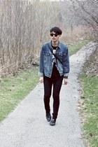 skinny Cheap Monday jeans - denim Sub jacket - vintage coach bag - vintage sungl