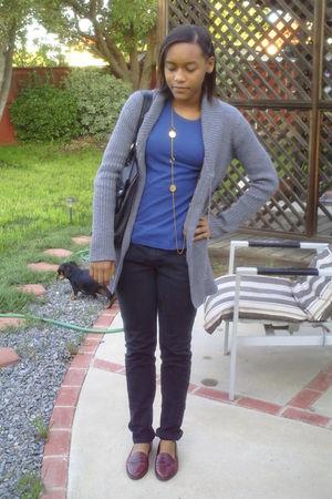 gray jacket - black Levis jeans - blue Walmart shirt - red vintage shoes - black