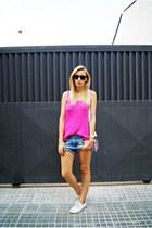 DIY shorts - H&M blouse