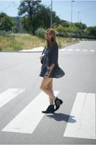 chartreuse Zara boots - romwe dress
