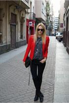 H&M Trend blazer - Tamaris boots - Topman shirt - Topshop bag - Topshop pants