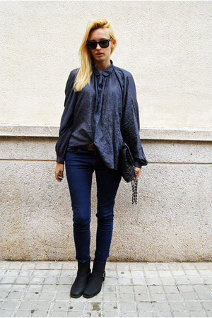 Topshop blouse - Nelly boots - Topshop jeans