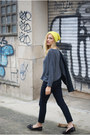 yellow H&M hat - Topshop jeans - romwe jumper - Topshop flats