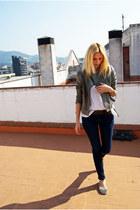 Topshop coat - Topshop jeans - Topshop blouse