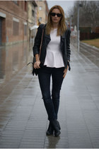 Topshop jacket - Nelly boots - Topshop jeans - H&M Trend blouse