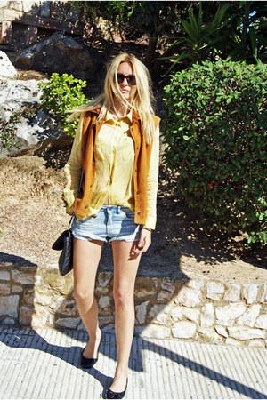 vintage blouse - H&M shorts - vintage vest