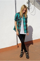 American Apparel jeans - Topshop blouse - Mango t-shirt - Topshop heels