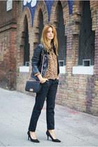 H&M blouse - Zara jacket - romwe bag - Topshop pants - Nine West heels