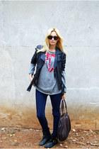 Topshop boots - Zara jeans - Topshop jacket - Markus Lupfer sweater