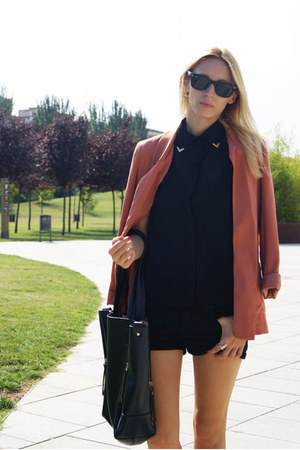 H&M blazer - OASAP bag - Sheinside blouse