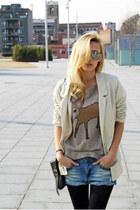 DIY shorts - beige H&M blazer - Zara shirt