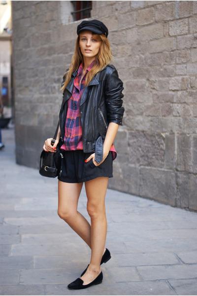 Topshop jacket - Romwecom hat - romwe shorts - Topshop blouse - Zara flats