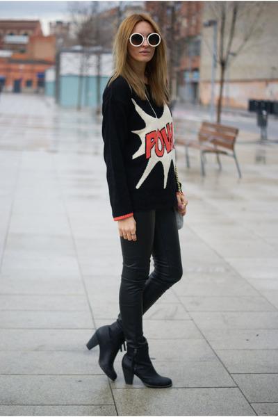 Primark jumper - romwe sunglasses - H&M pants