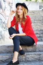 romwe blazer - vintage hat - Topshop pants