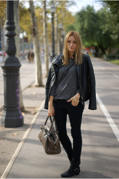 Zara jacket - Nelly boots - romwe jumper - Topshop pants