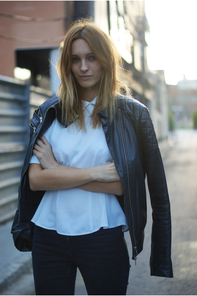 Zara jacket - Zara jeans - H&M blouse