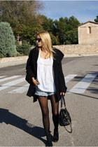 Topshop coat - H&M shorts - Zara blouse - Topshop flats
