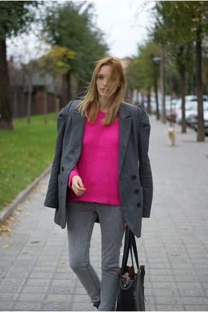 pull&bear coat - Topshop jeans - romwe jumper