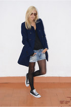 Zara coat - DIY shorts - Topshop blouse - Converse sneakers