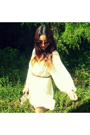 cream dress Topshop dress - tapestry purse vintage bag - Primark sunglasses