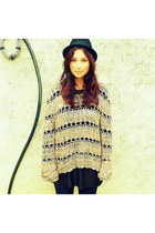 grey jumper Primark sweater - trilby mim hat - sequin mini Pimkie skirt