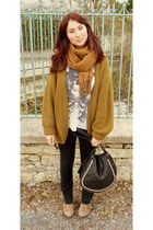 vintage cardigan - asher boots Topshop shoes - black skinnies Pimkie jeans
