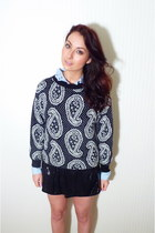 paisley pattern vintage sweater - black sequins Pimkie skirt