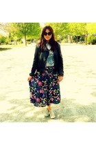 floral maxi Vintage Magpies skirt - leather jacket mim jacket