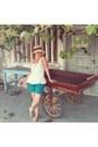 Beige-straw-unknown-brand-hat-teal-h-m-shorts-dark-brown-koton-sunglasses