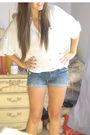 White-forever-21-shirt-blue-diy-shorts