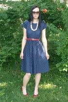 red vintage skinny vintage belt - red vintage shoes - blue VintageDress dress