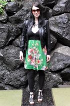 black shrunken Old Navy cardigan - shoes - green Hand Made dress