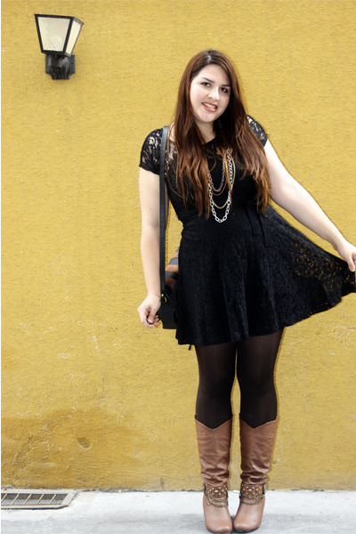 Black Black Lace Forever 21 Dresses Brown Charming Charlie Boots
