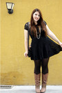 Brown-charming-charlie-boots-black-black-lace-forever-21-dress