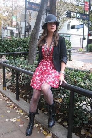 Forever 21 dress - vintage blazer - Forever 21 hat - Forever 21 boots